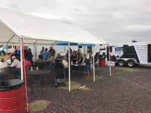 Side of the fundraiser tent
